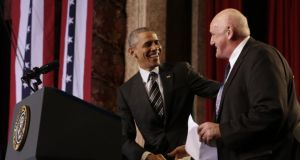 Welcome: Billy Lawless greets President Obama at Copernicus Community Center. Photograph: whitehouse.gov