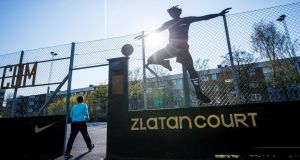 Zlatan Court in Rosengard in Malmo, where Ibrahimovic played as a child, is now named after the player. Photograph: Jonathan Nackstrand/AFP/Getty