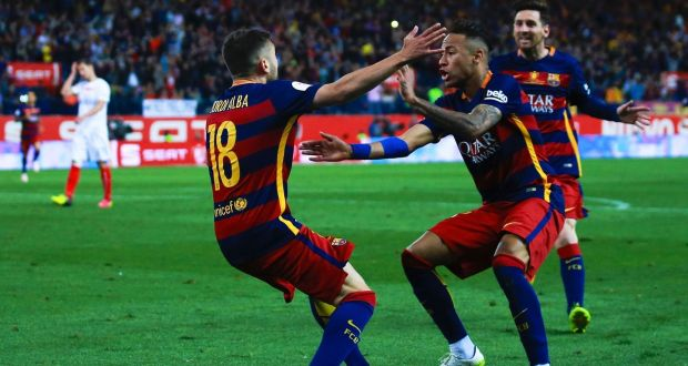 180fa17c5 Barcelona s Jordi Alba celebrates scoring their opening goal with teammates  Neymar and Lionel Messi the Copa