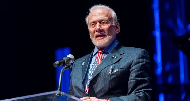 "Buzz Aldrin at the John F Kennedy Centre for the Performing Arts in Washington: ""Ever since those first steps on the moon, I have worked to ensure that those steps were not in vain. I have continued pushing to maintain American leadership in human space flight."" Photograph:  Scott Suchman"