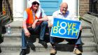 Two participants in Saturday's rally by the Pro Life Campaign in Dublin. Photograph: Aidan Crawley/The Irish Times.
