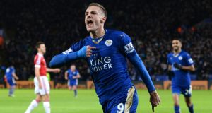 Leicester City's Jamie Vardy celebrates after scoring during against Manchester United. Photo: Getty Images