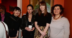 Joanna Walsh, second left, with, from left, Sineád Gleeson, Amy Herron and Valerie Bistany at the Irish Writers' Centre for Nollaig Na mBan. She returns there on Thursday, May 23rd, at 7.30pm for  a public interview and reading, which will be recorded for an Irish Times podcast. Photograph: Alan Betson