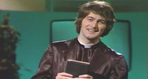 "Dermot Morgan as Father Trendy, a character that preceded his role as Father Ted. Aware of his anti-clerical reputation, he said of  Father Ted's writers:  ""the guys always say disingenuously if you ask me that [Father Ted]'s just a happy show about priests […]But anything so deranged has to have a subversive element […]for all their protestations of innocence, the fact that they'd hire me at all shows their true intent. It's like saying, 'We're setting up a general practice. Let's get Dr Mengele in'46'."""