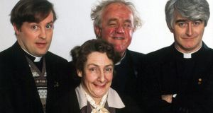 Father Ted's cast, including Mrs Doyle, a sexually obsessed but repressed domestic drudge