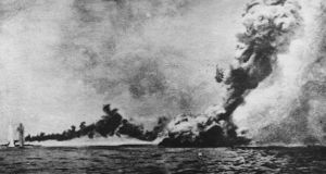 The HMS 'Queen Mary' explodes during the Battle of Jutland. Arthur Kidney from Barryroe died when the ship went down. Image: Ohne Angabe/Wikimedia Commons