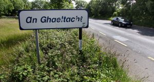 An Gaeltacht sign near Claregalway, Co. Galway. Photograph: Joe O'Shaughnessy.