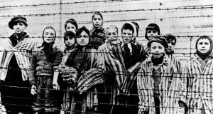 Children in Auschwitz concentration camp just before liberatoin