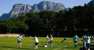 The  Ireland squad  during a training session at Westerford High School below the Table Mountain  in Cape Town, South Africa. Photograph: Nic Bothma/EPA