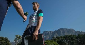 Ireland forwards coach Simon Easterby is interviewed  during a training session at Westerfield School in  Cape Town, South Africa. Photograph: Billy Stickland/Inpho