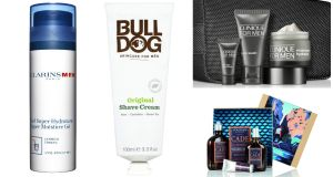 Clarins Men Super Moisture Gel (€38); Bulldog Original Shave Cream (€4.99); Clinique for Men Great Skin for Him Gift Bag (€40); L'Occitane Cade Gift Collection (€62, right)