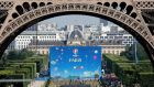 Fan zone at the Champs de Mars near the Eiffel Tower ahead of the UEFA 2016 European Championship in Paris. Photograph: REUTERS/Charles Platiau