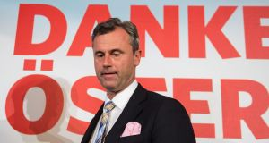 Right-wing Austrian  presidential candidate Norbert Hofer, whose Freedom Party has challenged the presidential election results won by the opposition Alexander Van der Bellen of the Green Party. Photograph: Christian Bruna/EPA