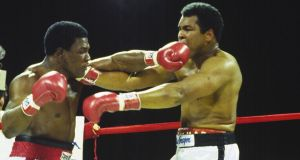 Muhammad Ali, a few weeks shy of his 40th birthday, takes on Trevor Berbick in his last ever fight on  December 11th, 1981 in the Bahamas. Berbick won the fight in a ten-round unanimous decision. Photograph: Focus on Sport/Getty Images