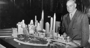 New York city planner Robert Moses with a model of  lower Manhattan. Photograph: Bettmann Archive
