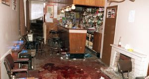 Interior of O'Toole's bar in Loughinisland the morning after the UVF shot dead six people in 1994. Photograph: Pacemaker