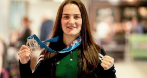 Kellie Harrington with her silver medal she won at the World Boxing Championships in Kazakhstan last month. Photograph: Donall Farmer/Inpho.