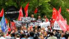 "Turkish demonstrators stage a protest outside the German Embassy in Ankara against approval of a resolution by Germany's parliament declaring the 1915 massacre of Armenians by Ottoman forces a ""genocide"". Photograph: Reuters"