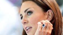 Kate Middleton wearing her sapphire engagement ring which was once owned by Lady Diana