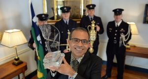 Akhil Sharma, winner of the 2016 International Dublin Literary Award for his novel Family Life,  at the Mansion House, Dublin where he received his €100,000 award, organised and sponsored by Dublin City Council. Photograph: Brenda Fitzsimons