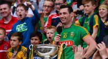 Meath captain James Toher  makes his victory speech following the Christy Ring Cup final 'victory' over Antrim at Croke Park. Photograph:  Tom Beary/Inpho