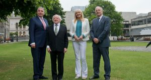 Attending the Forming Ireland's Response to the Refugee and Migration Crises conference at Trinity were President Michael D.Higgins; John Cunningham (left), chair of the Immigrant Council of Ireland; Miriam O'Callaghan, chairperson for the conference;  and David Stanton, Minister of State. Photograph: Brenda Fitzsimons