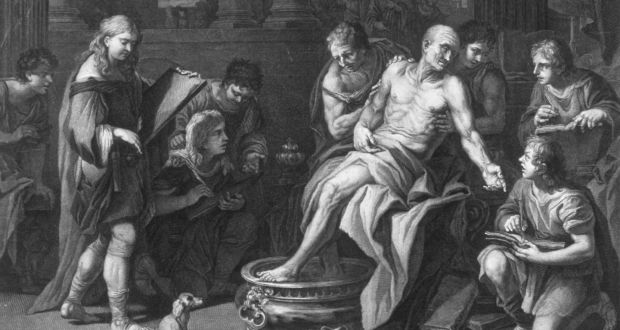 """The suicide of Stoic Roman philosopher, dramatist and statesman Seneca the Younger,  who was ordered to kill himself by Nero, and counselled that a wise person """"lives as long as he ought, not as long as he can"""". Photograph:  Mansell/Time Life Pictures/Getty Images"""