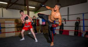 Tommy Lee Thompson and Lorcan Thompson at Larry's Kickboxing Club in Carlow. Photograph: Dylan Vaughan