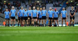 The Dublin senior hurling team ahead of their Leinster championship quarter-final defeat of Wexford at Croke Park last month. Photograph: Ryan Byrne/Inpho.