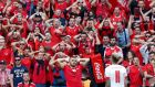 Armando Sadiku  of Albania reacts in front of his supporters during the  Euro 2016 group A  match against Switzerland at Stade Bollaert-Delelis in Lens. Photograph: Laurent Dubrule/EPA