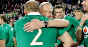 Ireland head coach Joe Schmidt celebrates with captain Rory Best after the victory  over South Africa at Newlands Stadium in Cape Town. Photograph: Billy Stickland/Inpho