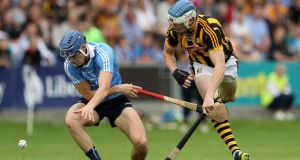 Dublin's Eoghan O'Donnell in action against Kilkenny's  TJ Reid during the  Leinster SHC semi-final at  O'Moore Park in  Portlaoise. Photograph:  Ryan Byrne/Inpho