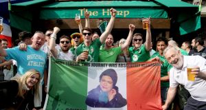 Republic of Ireland fans outside a bar in Paris. The Irish fans in France have been making international headlines for all kinds of good reasons at the Euros. Photograph: James Crombie/INPHO