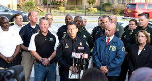 Orlando Police Chief John Mina and other city officials answer the media's questions about the Pulse nightclub shooting in Orlando, Florida. Photograph: Kevin Kolczynski/Reuters