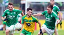 Donegal's Ryan McHugh is chased by  Fermanagh's Declan McCusker and Richard O'Callaghan during the Ulster SFC quarter-final at  Ballybofey. Photograph: Lorcan Doherty/Inpho/Presseye