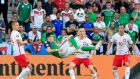 Northern Ireland's Kyle Lafferty attempts an overhead kick on goal during the Euro 2016 Group C match against Poland at the Stade  de Nice. Photograph:  Jonathan Brady/PA Wire