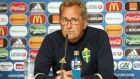 Sweden Coach Erik Hamren addresses the press in Paris. Photograph: Getty Images