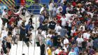 Tempers flare between rival fans at the England-Russia game in Marseille. Photograph: Owen Humphreys/PA Wire.