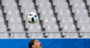 Zlatan Ibrahimovic controls a ball during a Sweden training session at the Stade de France in Paris ahead of the game against the Republic of Ireland on Monday. Photograph: Jonathan Nackstrand/AFP/Getty Images