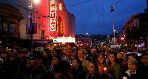 Residents of San Francisco and the Bay Area gather to mourn the victims of the Orlando shooting. Photograph: John G Mabanglo/EPA