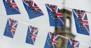 Pro-Brexit flags fly from a fishing boat moored in Ramsgate on June 13th, 2016. Photograph: Chris J Ratcliffe/AFP/Getty Images
