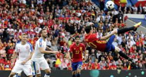 Aritz Aduriz of Spain with an overhead kick during. Photo: EPA
