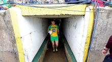 Michael Murphy leads the Donegal team on to the pitch at Ballybofey before their match against Fermanagh. Photograph: Lorcan Doherty/Inpho/Presseye
