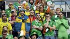Ireland and Sweden fans wait for the Group E match kickoff at the Stade de France in Saint-Denis. Photograph: AFP Photo/Miguel Medina