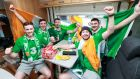 Flying the flag: Conor Condon, Gary Seary, Jack Hughes, Darren Reilly and Carl Kearns from Templeogue, Dublin in Paris. Photograph: James Crombie/INPHO