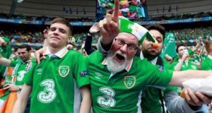 A group of Republic of Ireland fans at Stade de France in Paris for the Euro 2016 game against Sweden. Photograph: James Crombie/Inpho