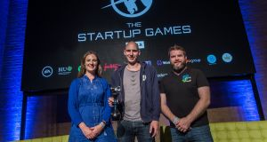 Winners: Pamela Newenham of GirlCrew, Luuv's Tim Kirchner  and Michael O'Dwyer of SwiftComply  at the Startup Europe Summit in Berlin. Photograph: Ralf Rühmeier