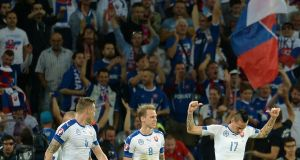 Slovakia's  Marek Hamsik  celebrates his goal during the Euro 2016 against Russia. Photo: Getty Images