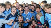 Man of the match Chris Bennett of Dublin with his trophy and young supporters after the  Leinster  U21 semi-final win over Westmeath at Parnell Park.  Photograph:  Matt Browne/Sportsfile