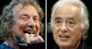 Lead singer Robert Plant (left) and guitarist Jimmy Page of British rock band Led Zeppelin are on trial after a lawsuit was filed claiming the distinctive guitar work from 'Stairway to Heaven' was plagiarised. File photograph: Reuters/Carlo Allegri, Hans Deryk